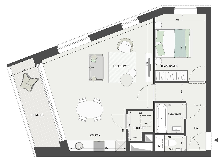 Plan appartement 1 slaapkamer