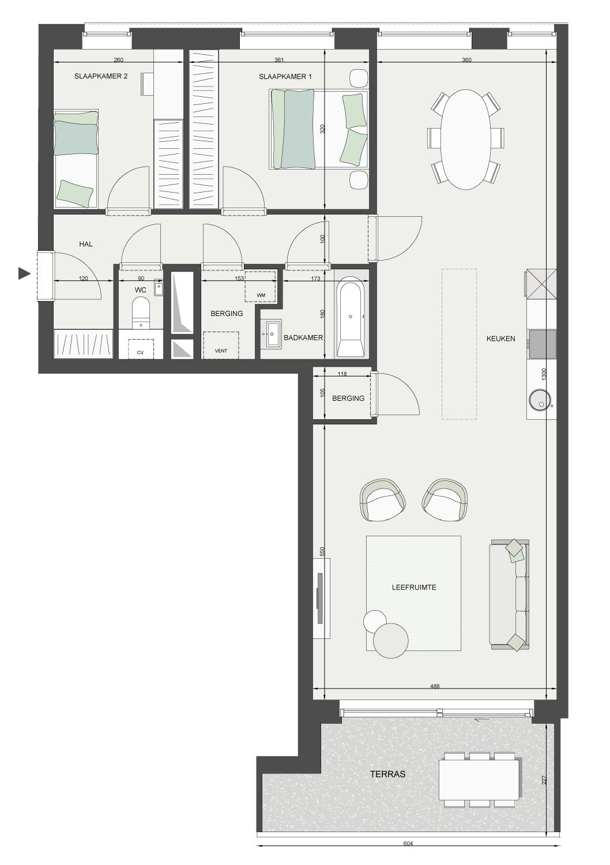 Plan appartement 2 slaapkamers