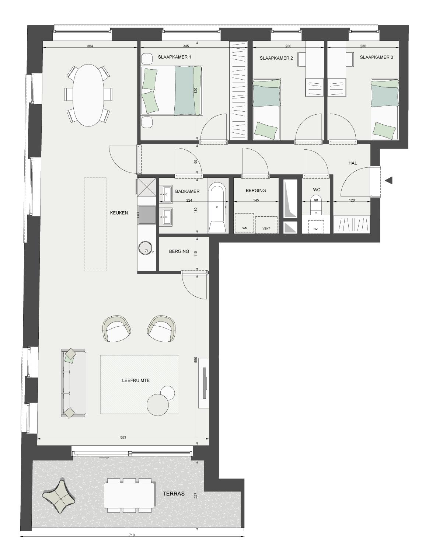 Plan appartement 3 slaapkamers
